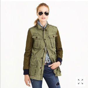 J Crew quilted boyfriend fatigue jacket military